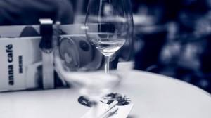 Blue glass of wine