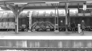 BW - Train Graffiti Art